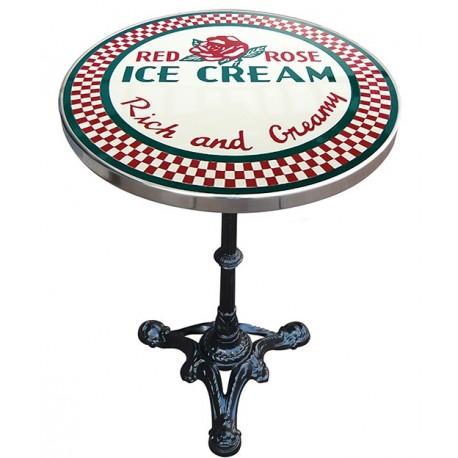 Décoration int/extérieure : Table bistrot émaillée en relief diamètre 55 cm : Red Rose