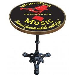 Table de bistrot émaillée en relief diamètre 50 cm : Wurlitzer