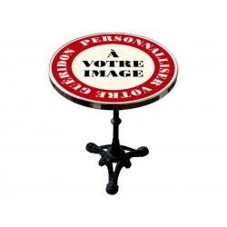 Table de bistrot émaillée en relief diamètre 60 cm : A personnaliser