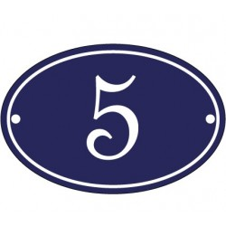 Numéro de rue ovale  émaillé 10 x 15 cm