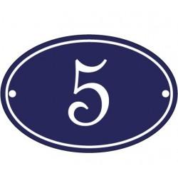 Numéro de rue ovale  émaillée 10 x 15 cm