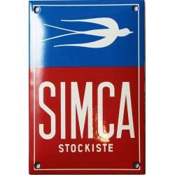 Plaque émaillée :  SIMCA STOCKISTE