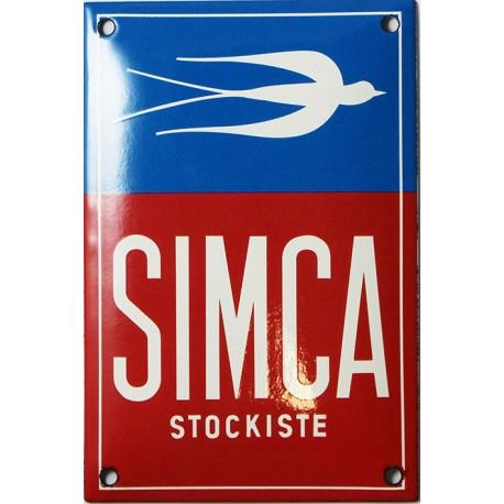 Plaque émaillée bombée  SIMCA STOCKISTE dim : 10x15cm