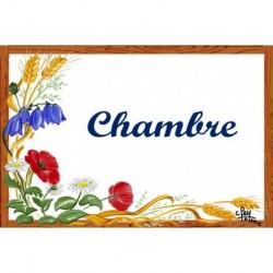 Plaque de porte émaillée décor Fleurs des Champs Format 7x10,5cm