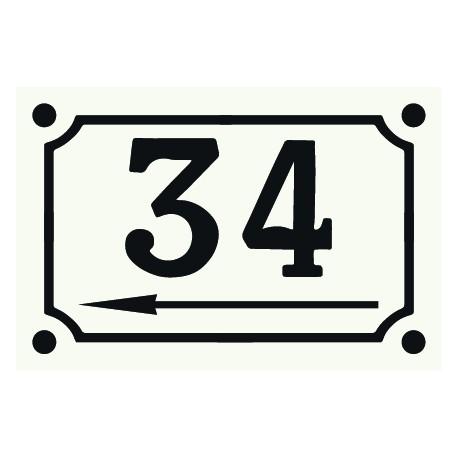 Numéro émaillé10 x 15 cm,Flèche vers la gauche.