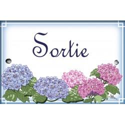 plaques émaillées décor Hortensias format 7x10,5cm