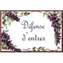 plaque de porte émaillée décor Glycines format  7x10,5cm