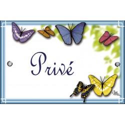 plaque de porte  émaillée décor Papillons format  7x10,5cm