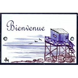 plaque de porte émaillée décor Cabane du pêcheur format  7x10,5cm