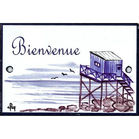 plaque émaillée décor Cabane du pêcheur format  7x10,5cm