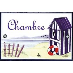 plaque de porte émaillée décor Cabine de plage format  7x10,5cm