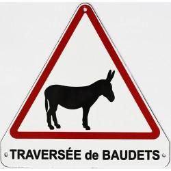 Plaque de rue  émaillée triangulaire  20x20cm plate :  TRAVERSÉE DE BAUDETS.