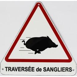 Plaque émaillée humoristique :  TRAVERSÉE DE SANGLIERS