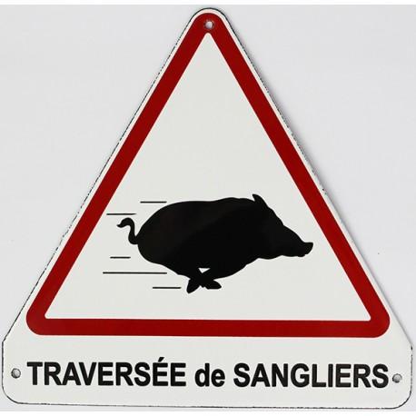 Plaque de rue  émaillée triangulaire  20x20cm plate :  TRAVERSÉE DE SANGLIERS.