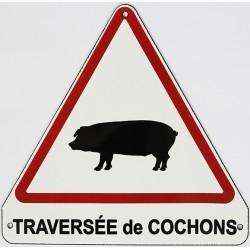 Plaque  émaillée humoristique :  TRAVERSÉE DE COCHONS