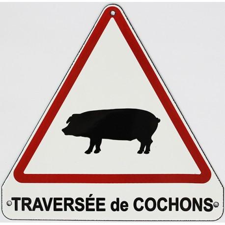 Plaque de rue  émaillée triangulaire  20x20cm plate :  TRAVERSÉE DE COCHONS.