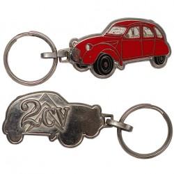 Porte-clés émaillée chromé Citroën 2cv Rouge.