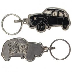Porte-clés émaillée chromé Citroën 2cv noire.