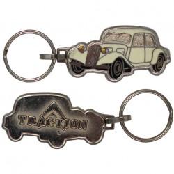 Porte-clés émaillée chromé Citroën traction blanche/beige.