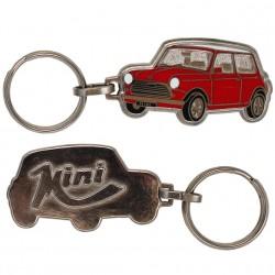 Porte-clés émaillée chromé Mini Austin rouge.