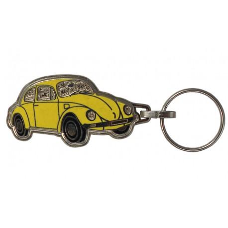 Porte-clés émaillé chromé VW coccinelle jaune.