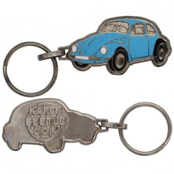 Porte-clés émaillé chromé VW coccinelle bleue.
