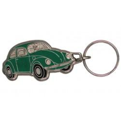 Porte-clés émaillé chromé VW coccinelle verte.