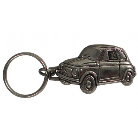 Porte-clés nickelé Fiat 500.