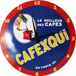 Horloge murale émaillée, bombée Diamètre 30 cm Cafexqui