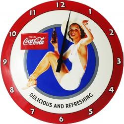 Horloge murale émaillée, bombée Diamètre 30 cm Pin up Coca Cola