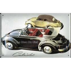 Plaque métal publicitaire 20 x 30 cm bombée en relief : Volkswagen cabriolet.