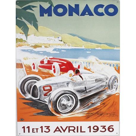Plaque métal publicitaire 30 x 40 cm : Monaco Grand Prix 1936