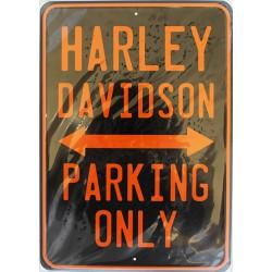 Plaque métal publicitaire 21x30cm plate : HARLEY PARKING.