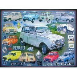 plaque métal publicitaire 30x40cm relief : Renault 4L collage 1961-1992.
