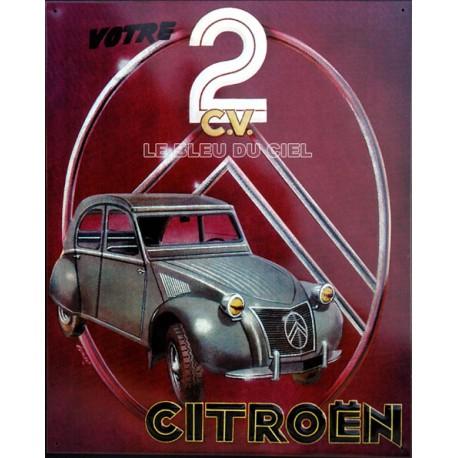 plaque métal publicitaire 30x40cm relief  :  2cv Citroën.