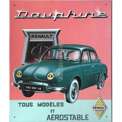 plaque métal publicitaire 28x32cm plate en relief : Renault Dauphine.