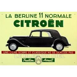 plaque métal publicitaire 28x40cm plate en relief : Citroën Traction 11 normale