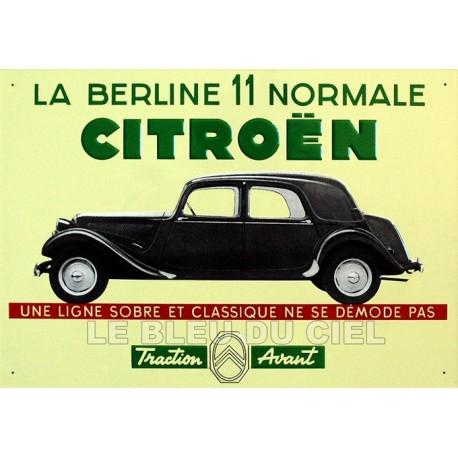 plaque métal publicitaire 28x40cm plate en relief : Citroën Traction 11 normale.