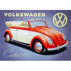 plaque publicitaire 30x40cm plate en relief : Volkswagen Cabriolet.