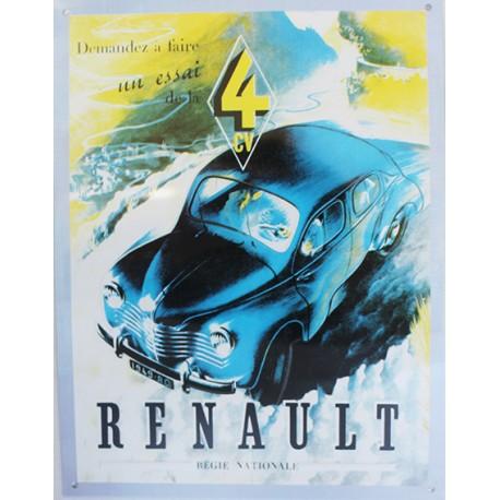 plaque métal publicitaire 26x34cm plate en relief  : Renault 4 CV.