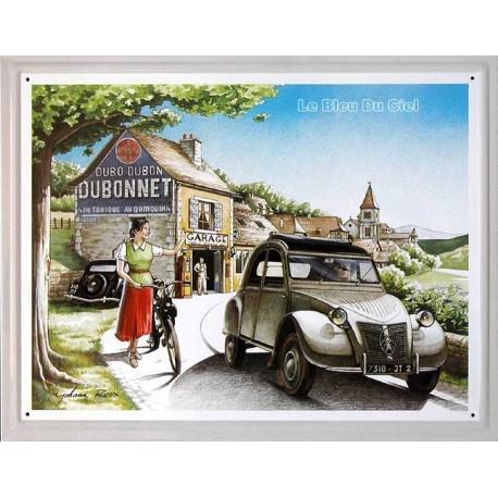 plaque métal publicitaire 30x40cm relief : Citroën 2cv Dubonnet.