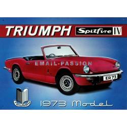 plaque publicitaire 30x40cm plate en relief : Triumph Spitfire IV