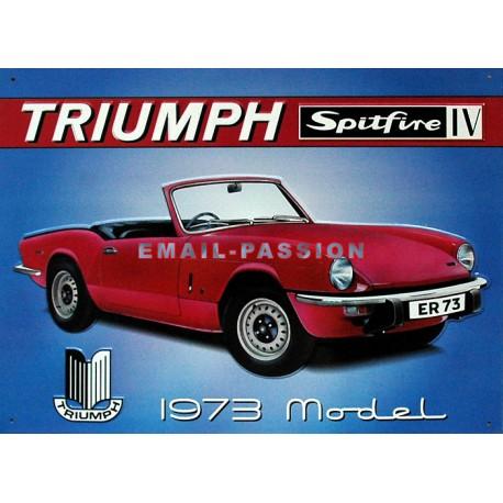 plaque publicitaire 30x40cm plate en relief : Triumph Spitfire IV.