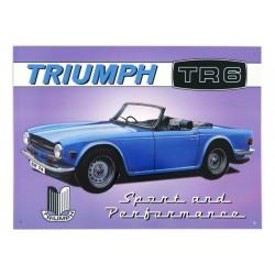 plaque publicitaire 30x40cm plate en relief : Triumph TR6.