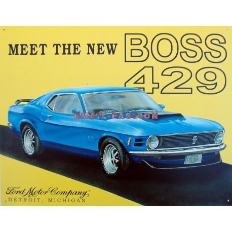 Plaque métal publicitaire 30x40cm plate : MEET THE NEW BOSS 429.