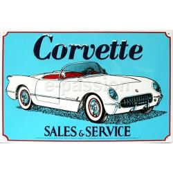 Plaque métal publicitaire 30x40cm plate en relief : CORVETTE SALES & SERVICE.