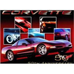Plaque métal publicitaire 30x40cm plate : CORVETTE 50TH ANNIVERSARY.