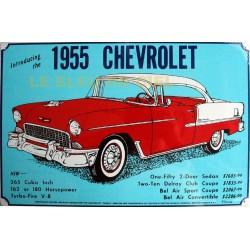 Plaque métal publicitaire 30x40cm plate : CHEVROLET 1955.
