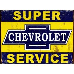 Plaque métal publicitaire 30x40cm plate : SUPER CHEVROLET SERVICE.
