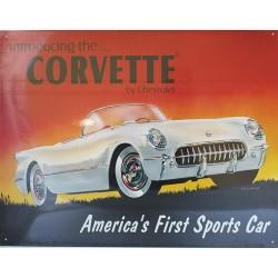 Plaque métal publicitaire 30x40cm plate : CORVETTE BY CHEVROLET.